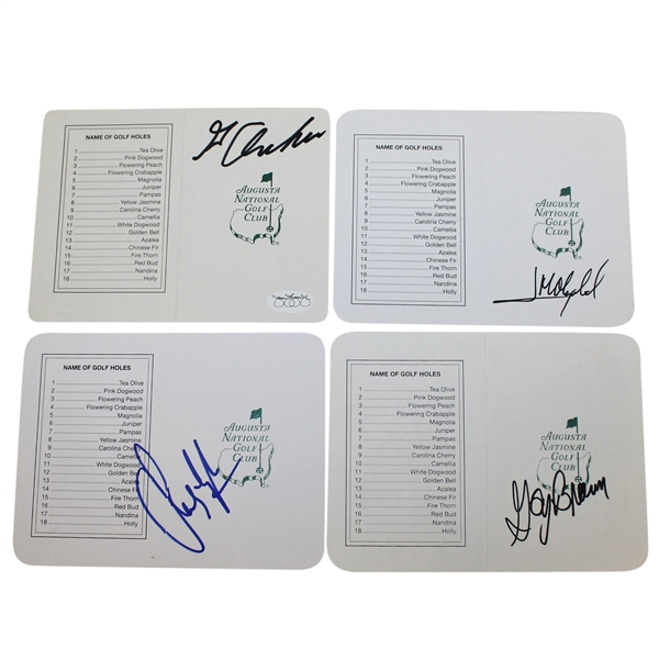 Archer, Lyle, Brewer, & Olazabal Signed Augusta National Scorecards JSA ALOA