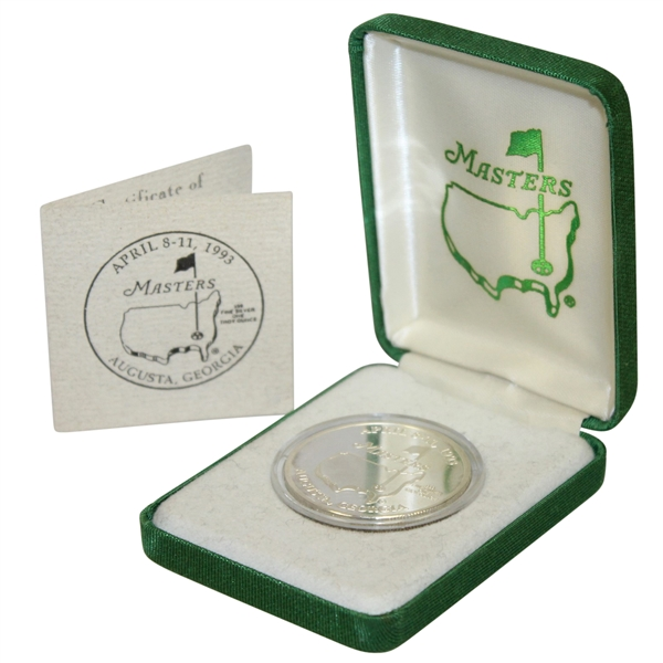 1993 Masters Tournament Limited Edition Silver Coin in Original Box with Note