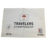 Jordan Spieth Signed 2018 Travelers Championship Embroidered Flag FULL JSA #Z72409