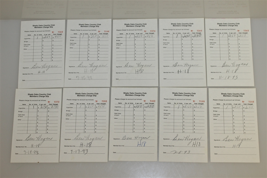 Twenty Ben Hogan Signed Shady Oaks Country Club Members Charge Slips JSA ALOA