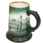 Lennox Golf Scene Mug - Green w/ Gold Rim & Ornate Trim