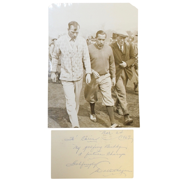 Walter Hagen & Archie Compston Signed with Sepia Tone Wire Photo JSA ALOA