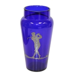 Hawkes Co Cobalt Blue Vase w/ Sterling Golf er Overlay