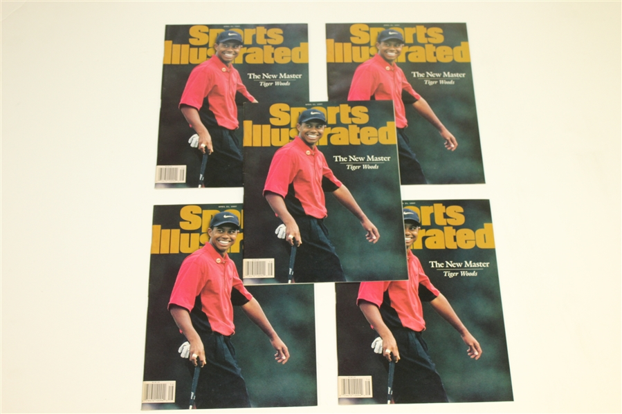 Tiger Woods Lot - 6 Wheaties Golf Ball Sleeves, 5 Sports Illustrated Magazines, 2008 Torrey Pines Embroidered Flag