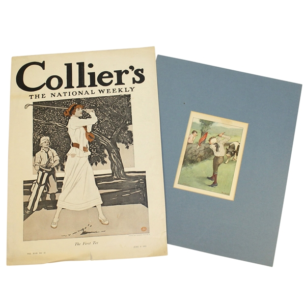 Lot Detail - Lot Of Two Illustrated Golf Scenes Drawn By