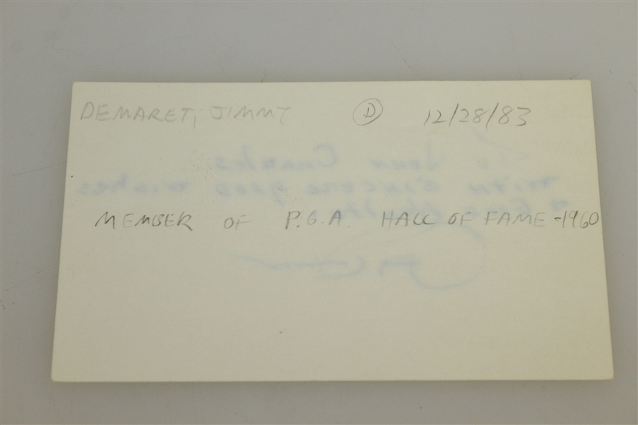 Jimmy Demaret D-1983 Signed Index Card With Added Inscription-JSA Cert of Authenticity