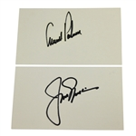 Arnold Palmer & Jack Nicklaus Signed Index Cards JSA ALOA