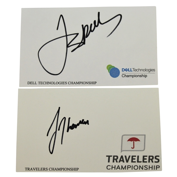 Jordan Spieth Signed Dell Technologies Card & Justin Thomas Signed Travelers Championship Card JSA ALOA