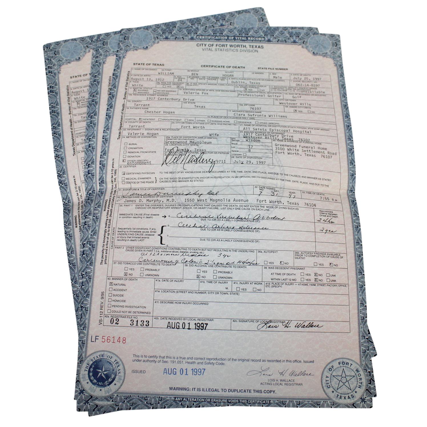 Lot Detail - Eight Copies of Ben Hogan's Death Certificate