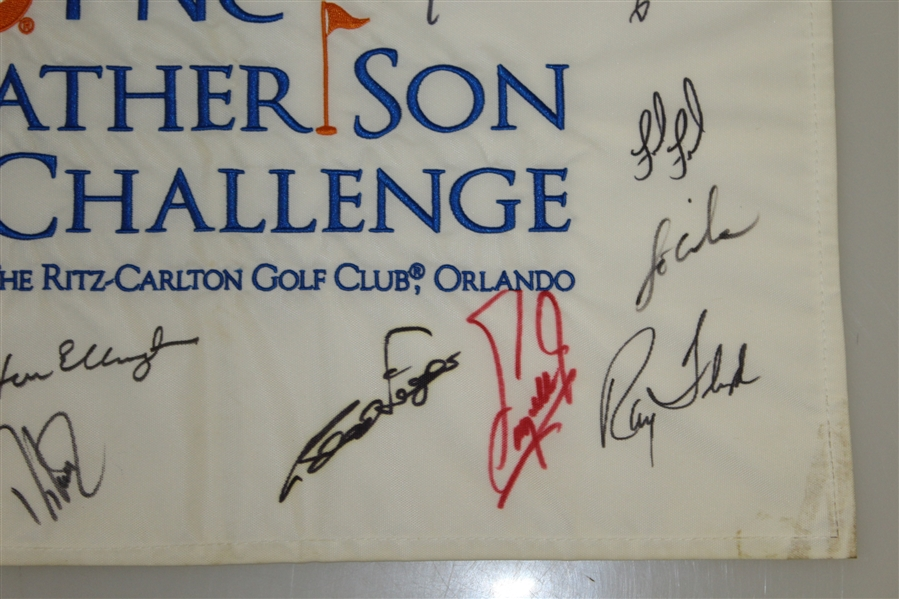 Multi Signed Father/Son Flag Including 11 Hall Of Fame Players JSA AOLA