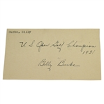 Billy Burke Signed 1946 Government Postcard w/ Inscription - 1931 US Open Golf Championship JSA AOLA
