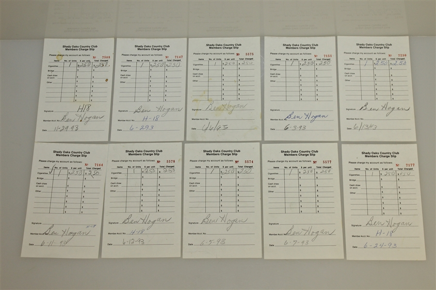 Twenty Ben Hogan Signed Shady Oaks Country Club Members Charge Slips JSA AOLA