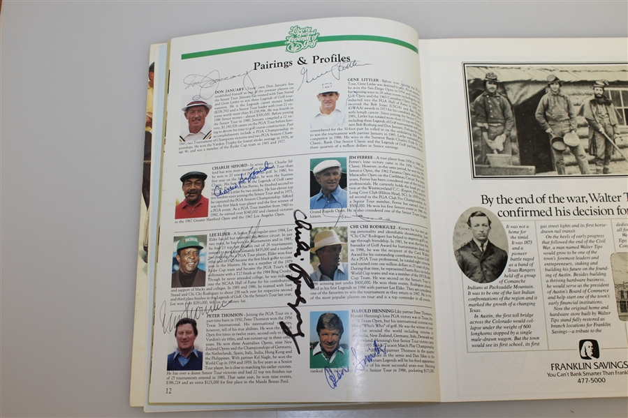 Multi-Signed Onion Creek Club 1987 Legends Of Golf Program/Pairing Guide - Snead, Goalby, Bolt, Harbert & Others JSA AOLA