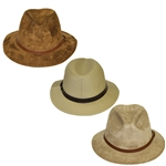 Three Don Cherry Personal Kangol Leather Suede Golf Hats - Brown, Khaki, & Stone