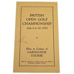 1953 British Open Golf Championship Plan in Colour of Carnoustie Course Pamphlet