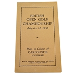 1953 British Open Championship at Carnoustie Course Plan - Hogan Winner