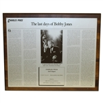 Charles Prices 1992 The Last Days of Bobby Jones GWAA First Place Plaque - Writing Competition