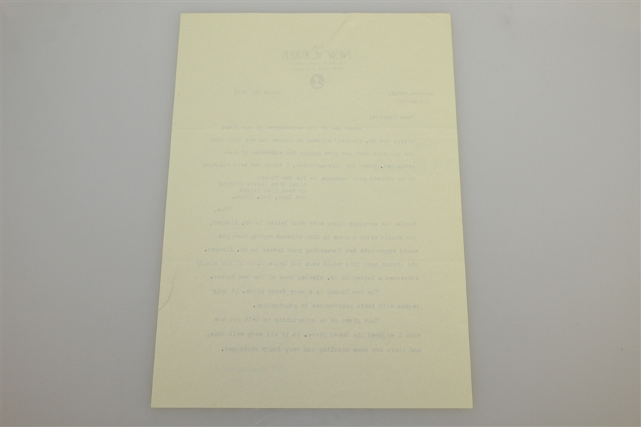 Herbert Warren Wind Five Signed Letters to Charles Price JSA ALOA
