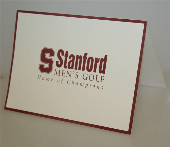 Tiger Woods Signed Stanford Men's Golf 'Home of Champions' Card JSA ALOA