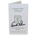 Arnold Palmer Signed Country Club of Detroit Scorecard - 1954 U.S. Amateur Win Site! JSA ALOA