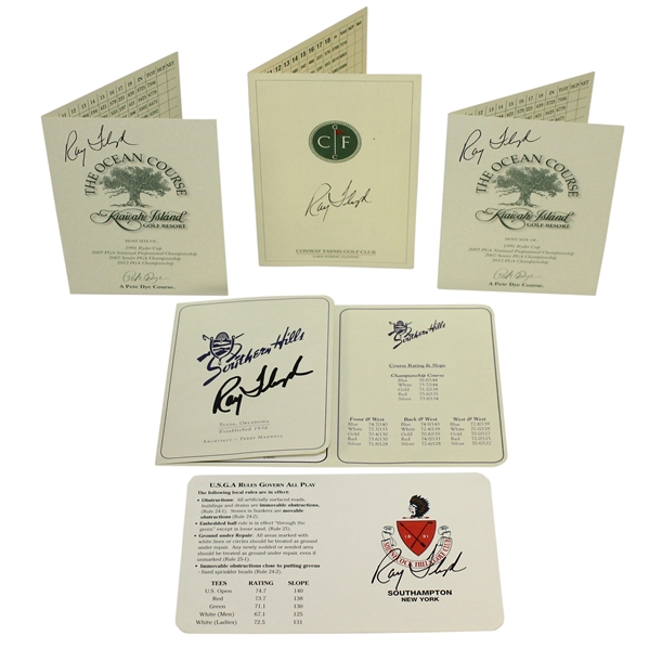 Ray Floyd Signed Five Scorecards - Conway, Kiawah(x2), Southern Hills, & Shinnecock JSA ALOA