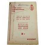 1954 The Open at Royal Birkdale Official Monday Programme - Peter Thomson Winner