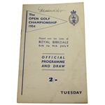 1954 The Open at Royal Birkdale Official Tuesday Programme - Peter Thomson Winner