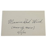 "Marvin ""Bud"" Ward Signed 3x5 Card - 1939 & 1941 US Amateur Champion JSA ALOA"