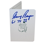 Gary Player Signed Augusta National Scorecard with Three Masters Wins Notation JSA ALOA
