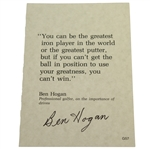 Ben Hogan Signed Quote Card About the Importance of Accurate Drives JSA ALOA
