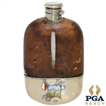 "Vintage Sterling Silver, Glass & Leather Sheath Flask with Monogrammed ""LGW"" & Enameled Golfer"