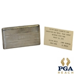 1935 Bethpage Blue (Tilly Design) Exhibition Match Silver Cigarette Case Engraved & Given to Vic Ghezzi