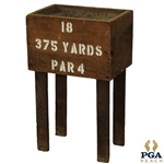 "Circa 1900 Sand Tee Box - 18th Hole - Stenciled ""375 Yards, Par 4,"" with Sand"