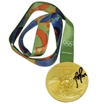 Justin Rose Winner Signed Replica 2016 Rio Olympics Gold Medal with Ribbon JSA #T98797