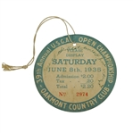 1935 US Open at Oakmont CC Saturday Final Rd Ticket #2974 with Original String - Sam Parks Winner
