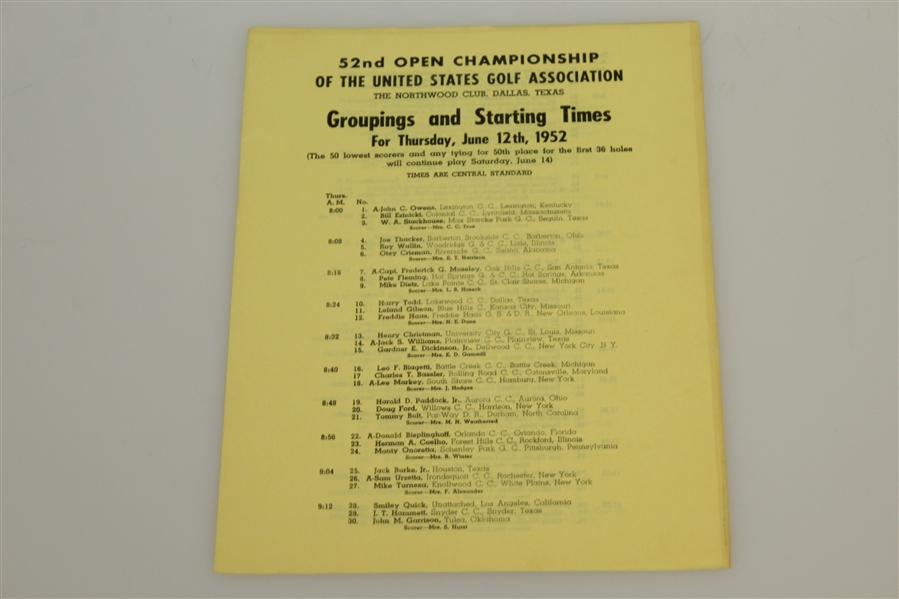 Lot Detail - 1952 US Open Championship at Northwood CC