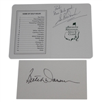 Earl Woods Signed Augusta Scorecard & Butch Harmon Signed 3x5 Card JSA ALOA