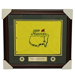 Deluxe Framed 2019 Masters Tournament Embroidered Flag with Nameplate & Ball Markers
