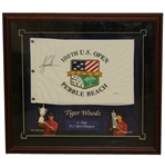 Tiger Woods Signed Ltd Ed 2000 US Open at Pebble Beach Flag - Framed BAJ #05002