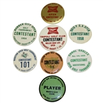 Eight 1950s Golf Contestant Badges - Houston(x2), Greater New Orleans, Ohio PGA, & Others