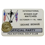 Deane Bemans 1983 Ryder Cup at PGA National Golf Club Official Party Badge
