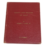 1935 Bobby Jones Rights and Wrongs of Golf Book - Red Hardcover