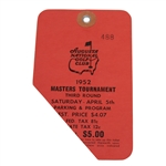 1952 Masters Tournament Third Round Badge #488 - Sam Snead Winner