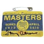 Tommy Aaron Signed 1973 Masters Tournament Badge #26784 JSA #EE96311
