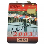 Mike Weir Signed 2003 Masters Tournament Badge #Q06126 JSA #EE96307
