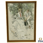 Circa 1904 Golfing Couple Sitting on Bench Print by Artist Harrison Fisher