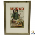 Early 1900s Murad - The Turkish Cigarette Lithograph Advertisement w/ Golfer Lighting Cigarette