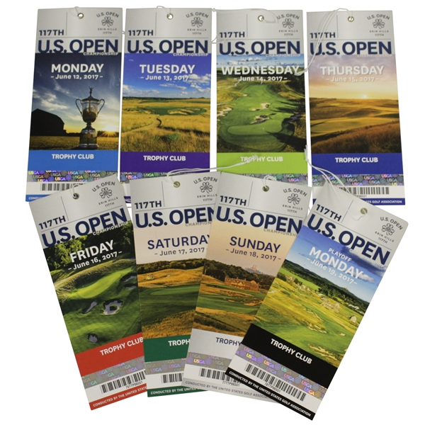 2017 US Open at Erin Hills Full Set of Tickets - Koepka 1st Major