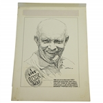 Circa 1960s I Like IKE Golf Winged Foot GC by Artist Bruce Stark Original Pen & Ink on Board