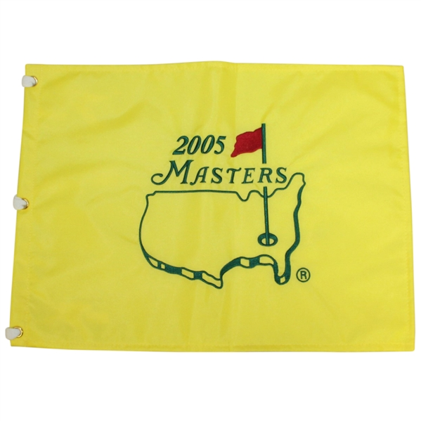 2005 Masters Tournament Embroidered Flag - Tiger Wins 4th Masters Green Jacket!